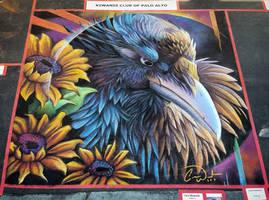 Raven in Sunflowers Chalk Art
