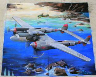 LockHeed P-38 Lighting, Battle Axe Chalk Art by charfade
