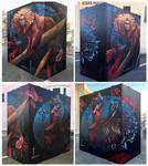 Golden Lion Tamarin and beta Fish Anamorphic mural
