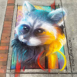 Rainbow Trash Panda Chalk Art