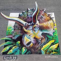 Triceratops Dinosaur Chalk Art