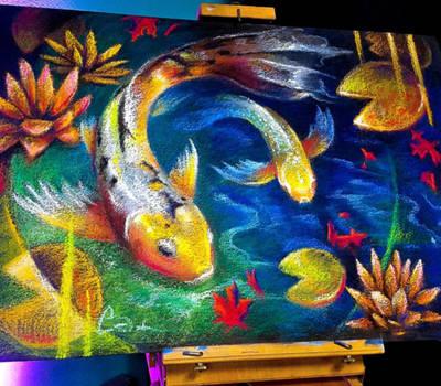 Koi Fish Chalk Art