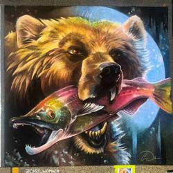 Grizzly Bear Salmon Chalk Art