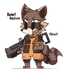 Rocket Raccoon and Groot by MACKINN7