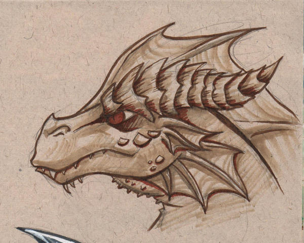 Dragonhead toned sketch by rainsingingdragon