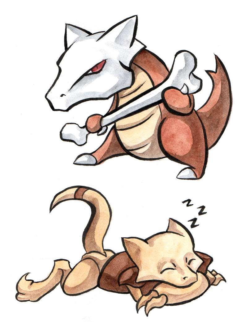 Marowak and Abra by rainsingingdragon