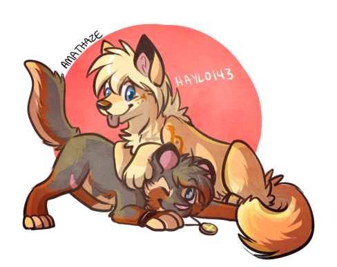 Chibi Haylo and Angle by Amathaze by HAYALES