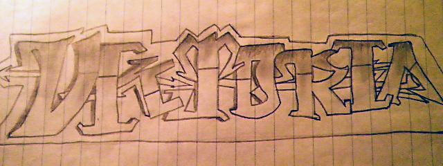 как нарисовать граффити карандашом.