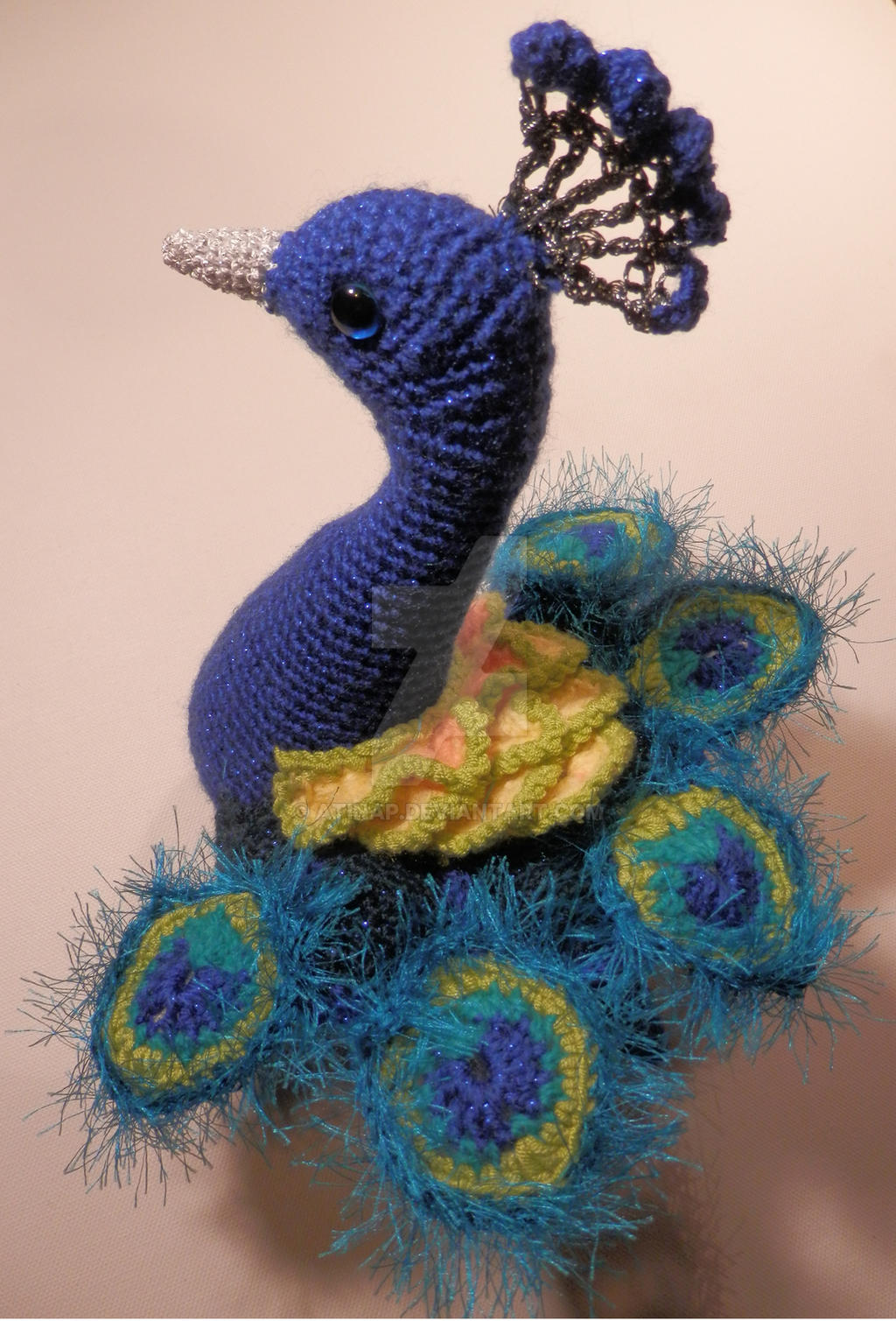 Free Crochet Pattern Peacock Feather : Blue Peacock Amigurumi by AtinaP on DeviantArt