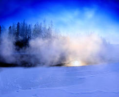 steaming river