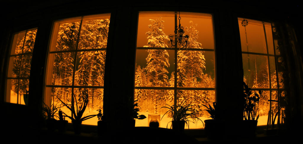 winter view from the window at midnight by KariLiimatainen