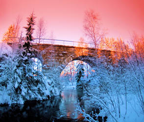 train bridge in winter by KariLiimatainen