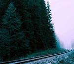 Railway track in the fog.