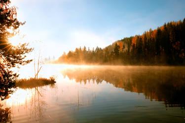 Beautiful misty autumn morning