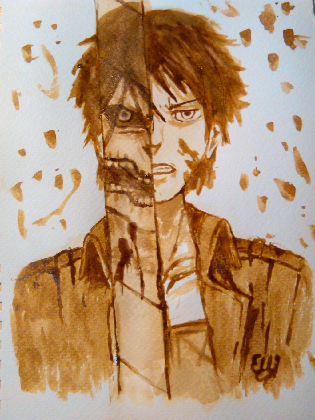 Eren jaeger coffee painting by elilee23 on deviantart for Painting with coffee grounds