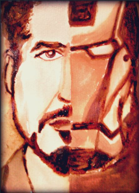 Iron Man Tony Coffee Painting by elilee23