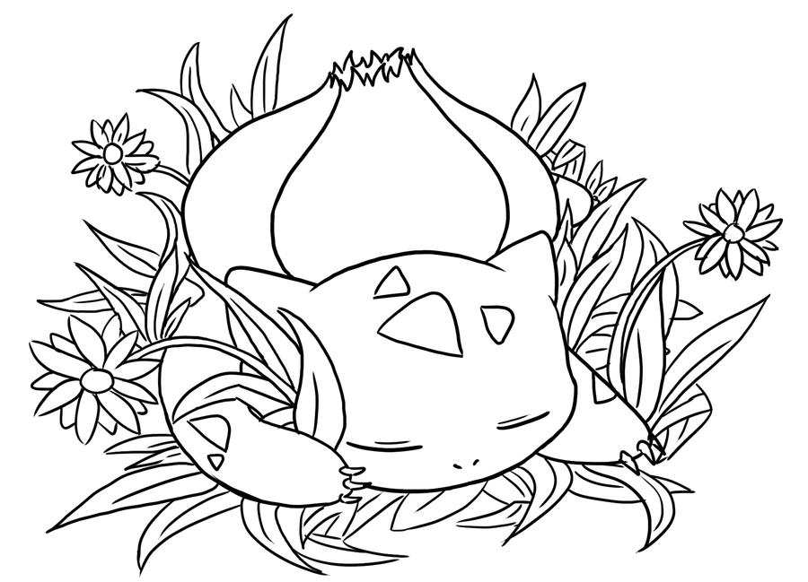Sleeping bulbasaur lineart by dragonicwolf on DeviantArt