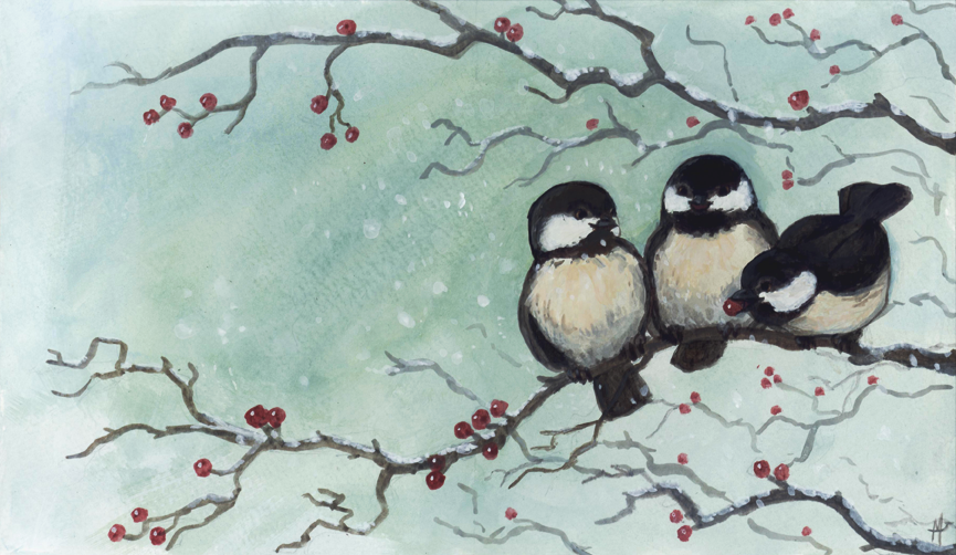 Christmas Card Chickadees By Camelid On Deviantart
