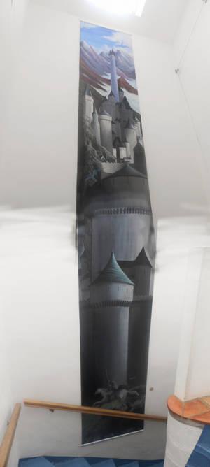Minas Tirith 7m/1m acrylic on oilcloth 6