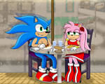 Sonic x Amy Cafe Date (Prize) by dwaters220