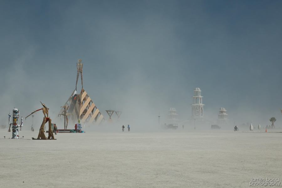 Burning Man '11 Temple and Man by James-Bong