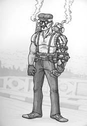 Steampunk iron arm guy by fieveltrue