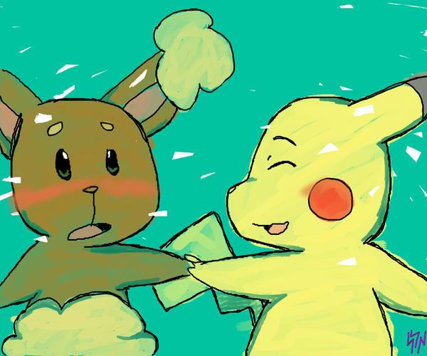 Pokemon Pikachu And Buneary Kissing Images | Pokemon Images