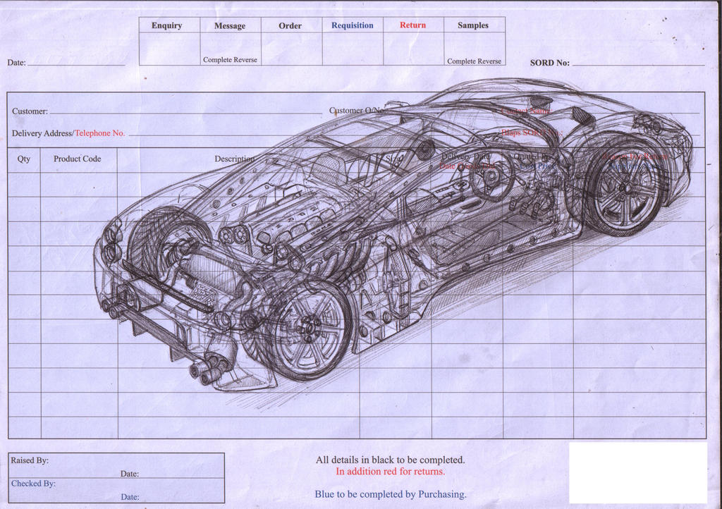 Cut away sports car sketch by Lino-81