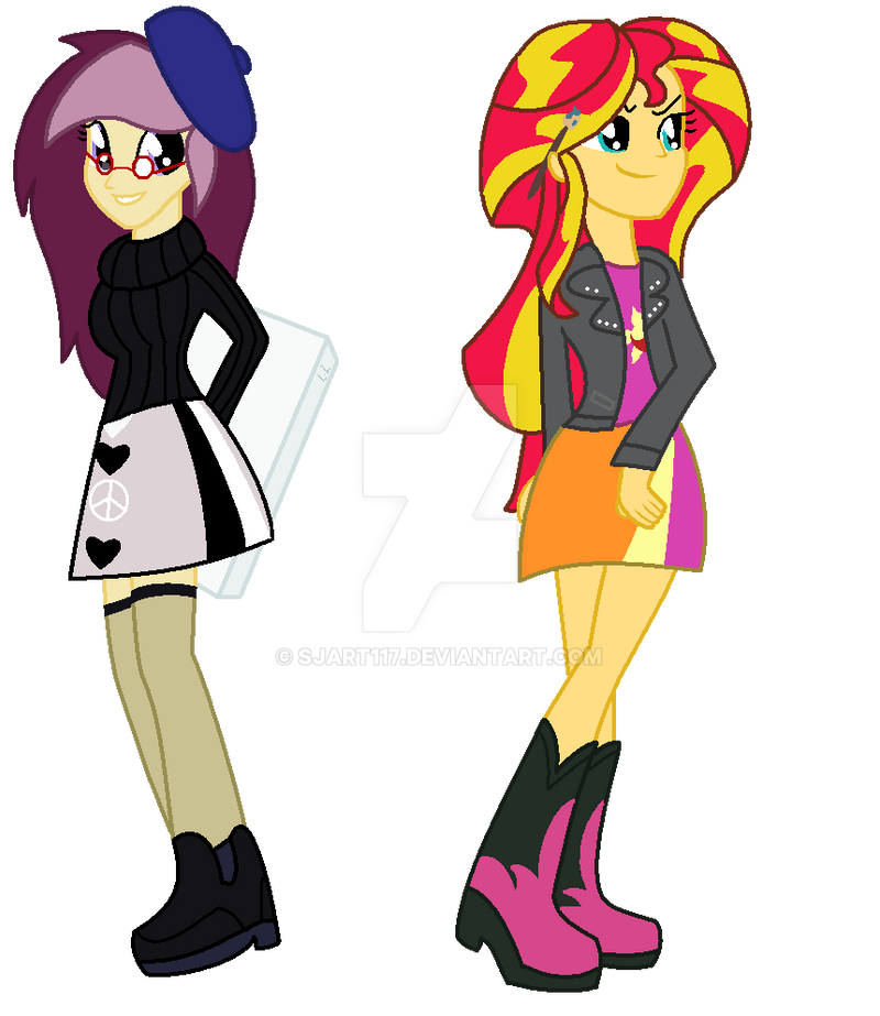 Lannie Lona and Sunset Shimmer Equestria Girls by SJArt117