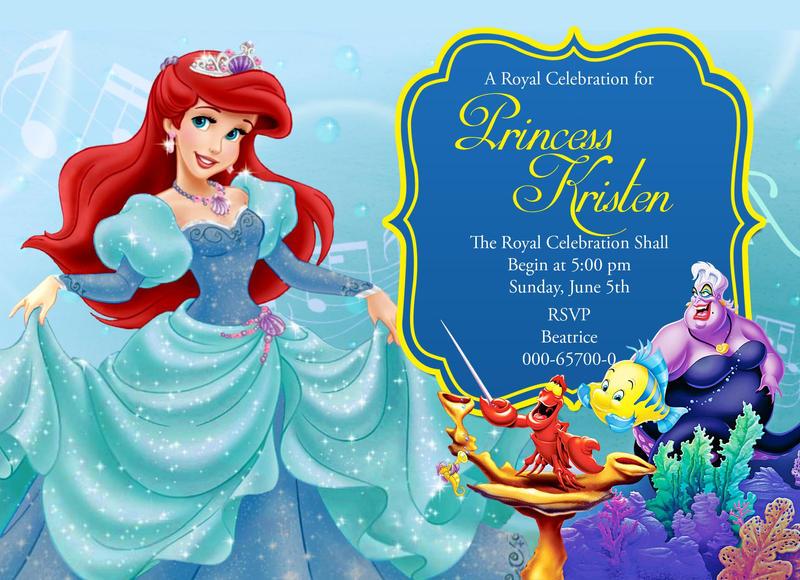 Disney Little Mermaid Birthday Invitation Card By Birthdayinviteshop