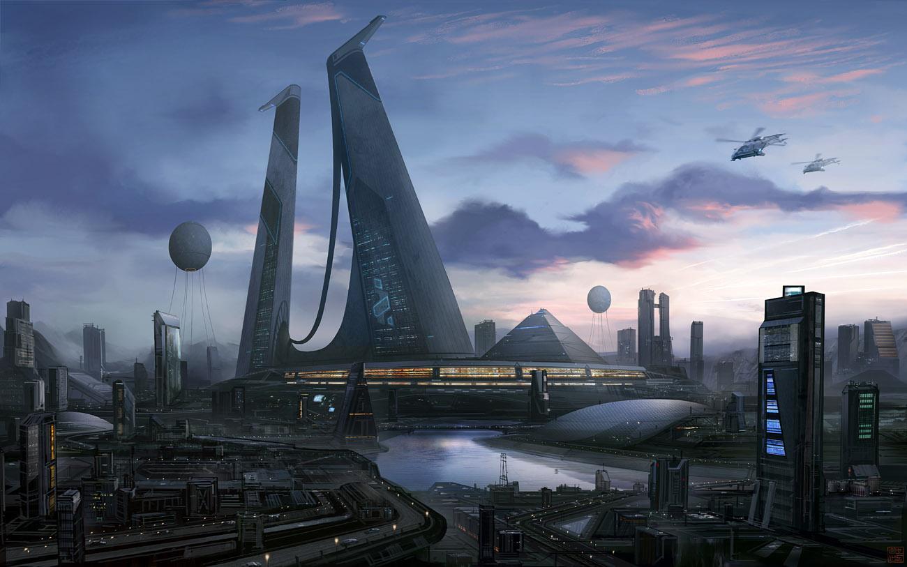 Futuristic city megastructure hideyoshi futuristic Concept buildings
