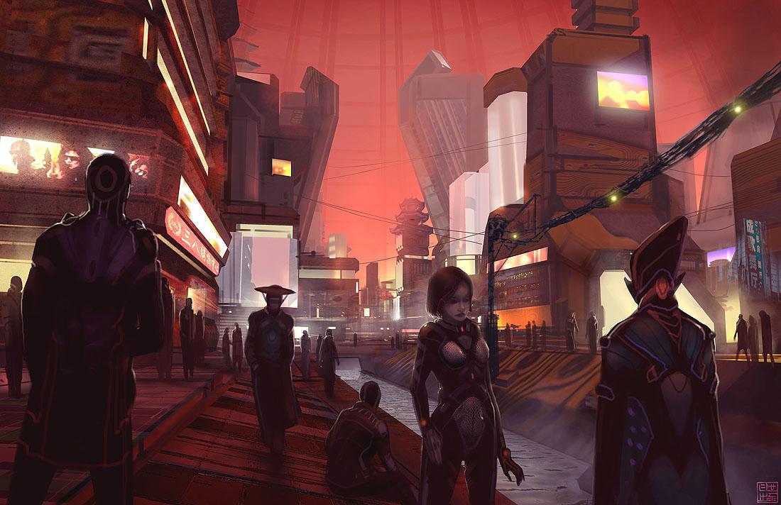 Eclipse Phase Martian Street by Hideyoshi