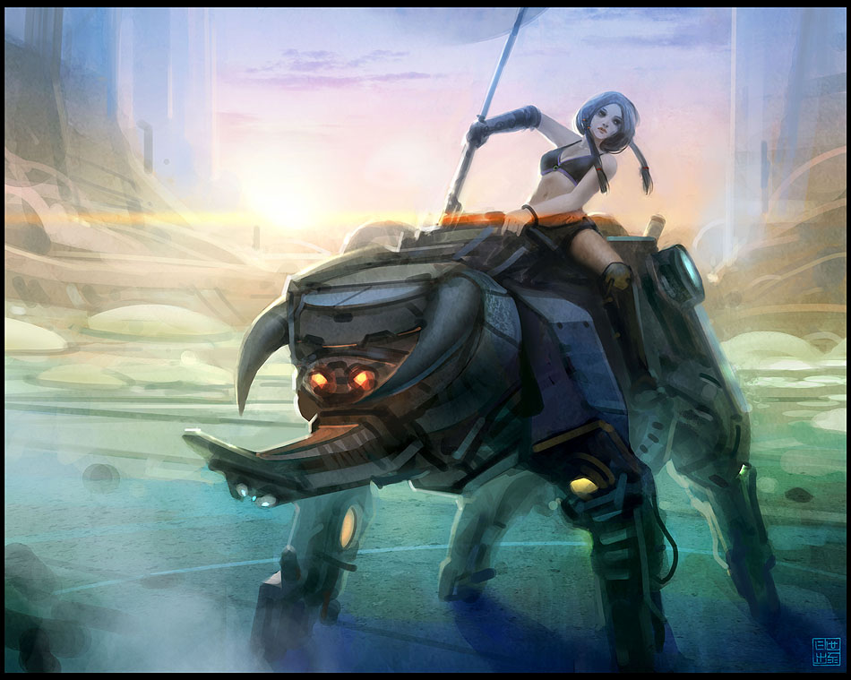 Mecha Bison Rider by Hideyoshi