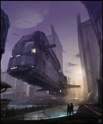 Spaceport : Speedpainting Process VIDEO by Hideyoshi