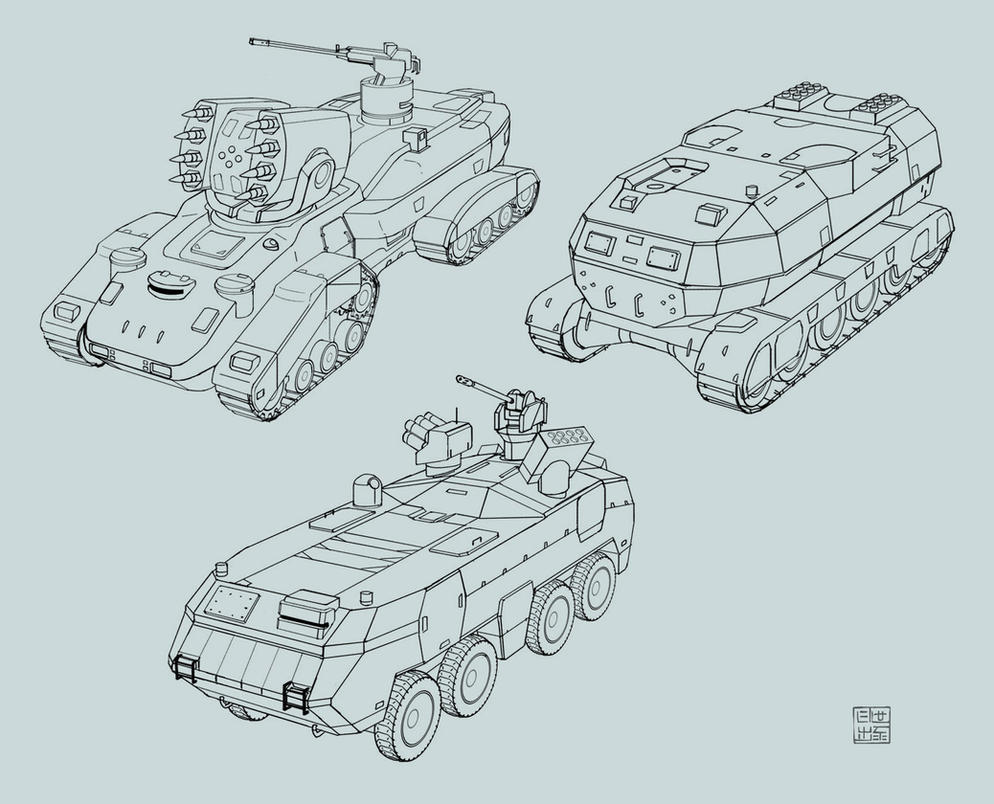 Space Vagabonds - tank concepts 2 by Hideyoshi