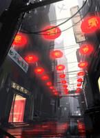 Red Street by Hideyoshi