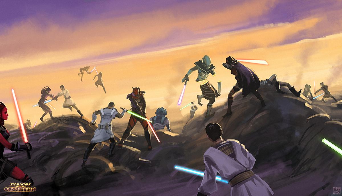 Star wars jedi battle wallpaper