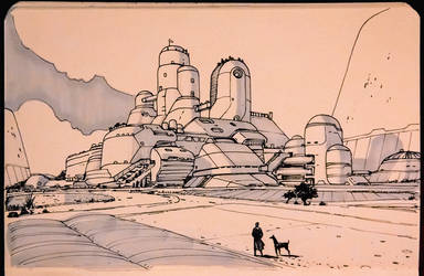 Ghibli -Moebius style university castle blah