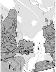 Inktober Sky City by Hideyoshi