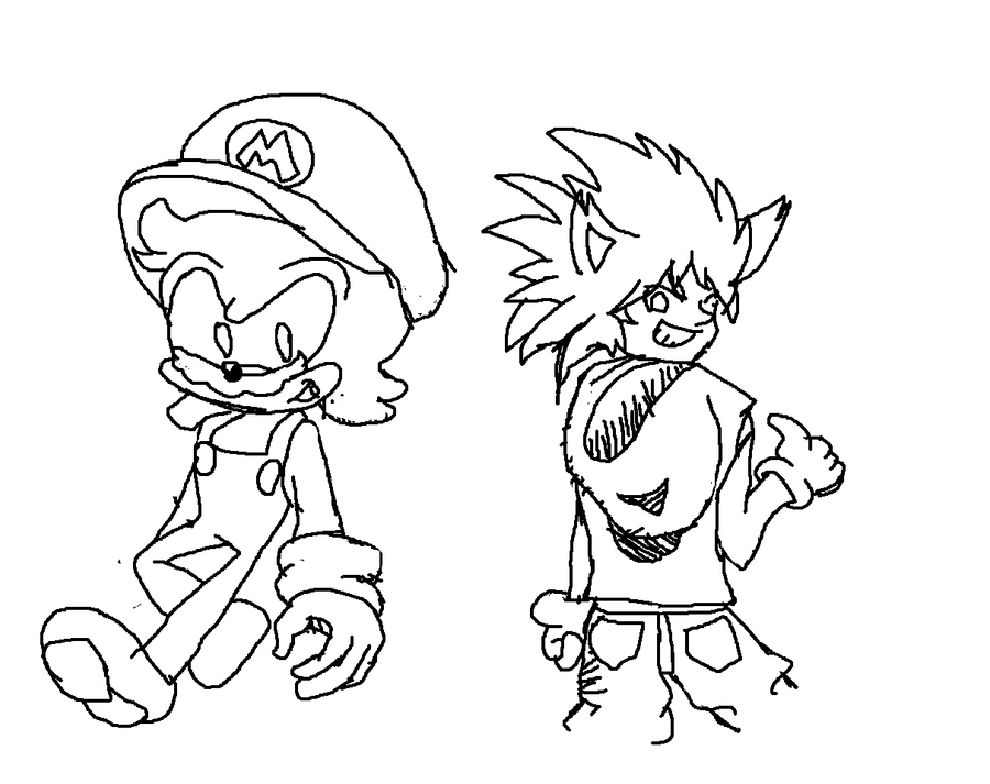 Mario and sonic change by supermarioguy on deviantart for Mario and sonic coloring pages