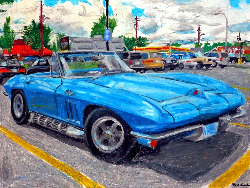 Corvette Stingray C2 drawing by stevebrandon