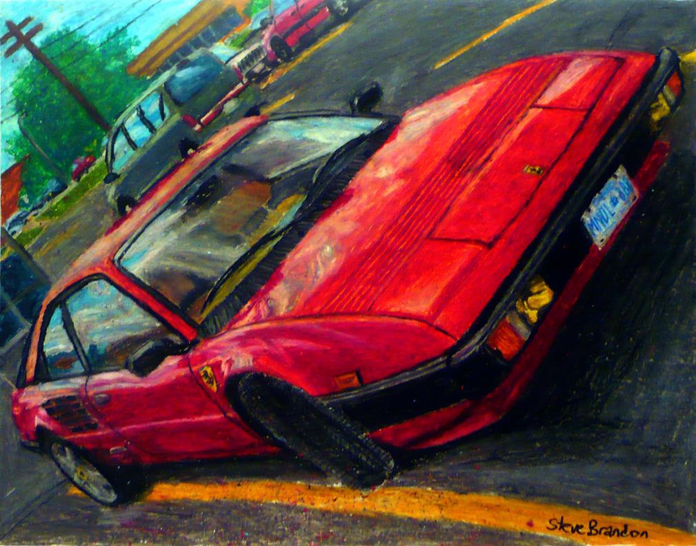 Ferrari Mondial oil pastel by
