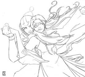 AtLA Couples Sketch - Kataang by AnimantX
