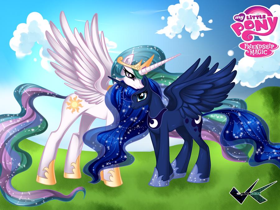 Commission: Princess Celestia and Princess Luna by jadenkaiba