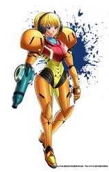 Commission : Samus Metroid Armor Helmetless by jadenkaiba