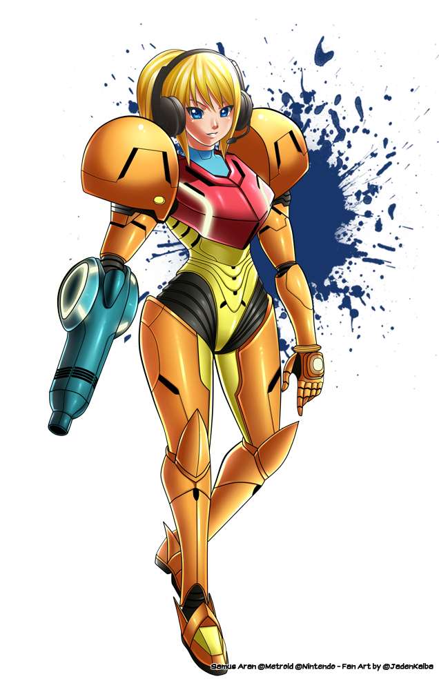Commission : Samus Metroid Armor Helmetless by jadenkaiba