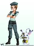 Commission : Kari (Jill Valentine Ver.) w Gatomon by jadenkaiba