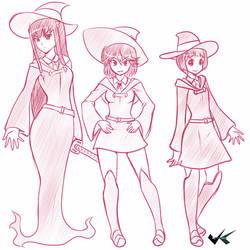 Sketch - Kill la Kill X Little Witch Academia by jadenkaiba