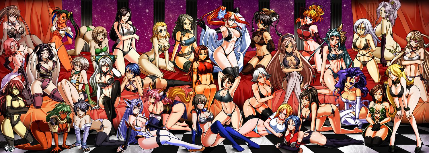 COMMISSION:Massive Videogame Girls Harem