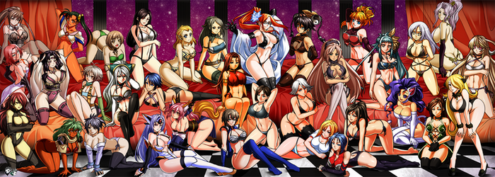 COMMISSION:Massive Videogame Girls Harem by jadenkaiba